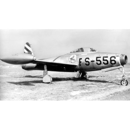 Canvas Print 49th Fighter Squadron Republic P-84B-11-RE Thunderjet 45-59556 Stretched Canvas 10 x 14
