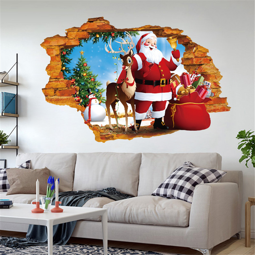 Mosunx 2018 Merry Christmas Household Room Wall Sticker Mural Decor Decal Removable