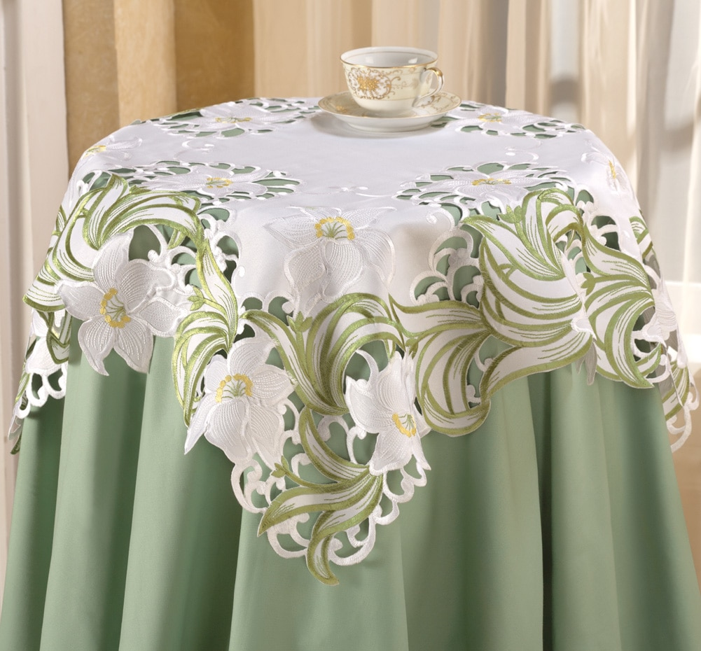 Lily Floral Embroidered Table Linens Square, Square, Square by Collections Etc