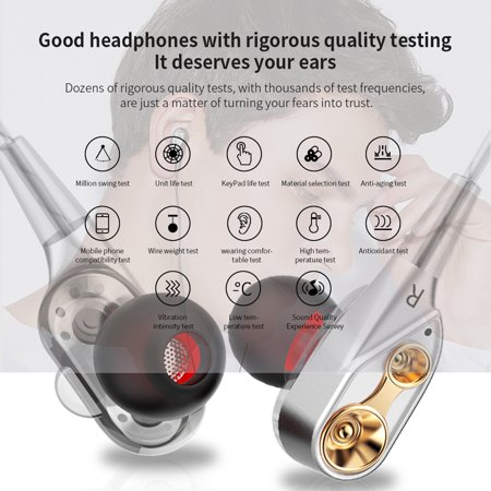 QKZ CK8 3 5mm Wired Headphones Dual Moving Coil In-ear Headset Heavy Bass  Stereo Music Earphones In-line Control with Microphone Storage Box
