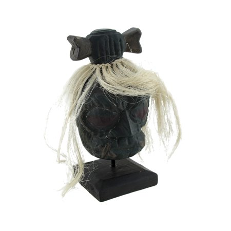 Mounted Shrunken Head with White Hair and Bone Hair-Bow Statue](Shrunken Heads For Sale)