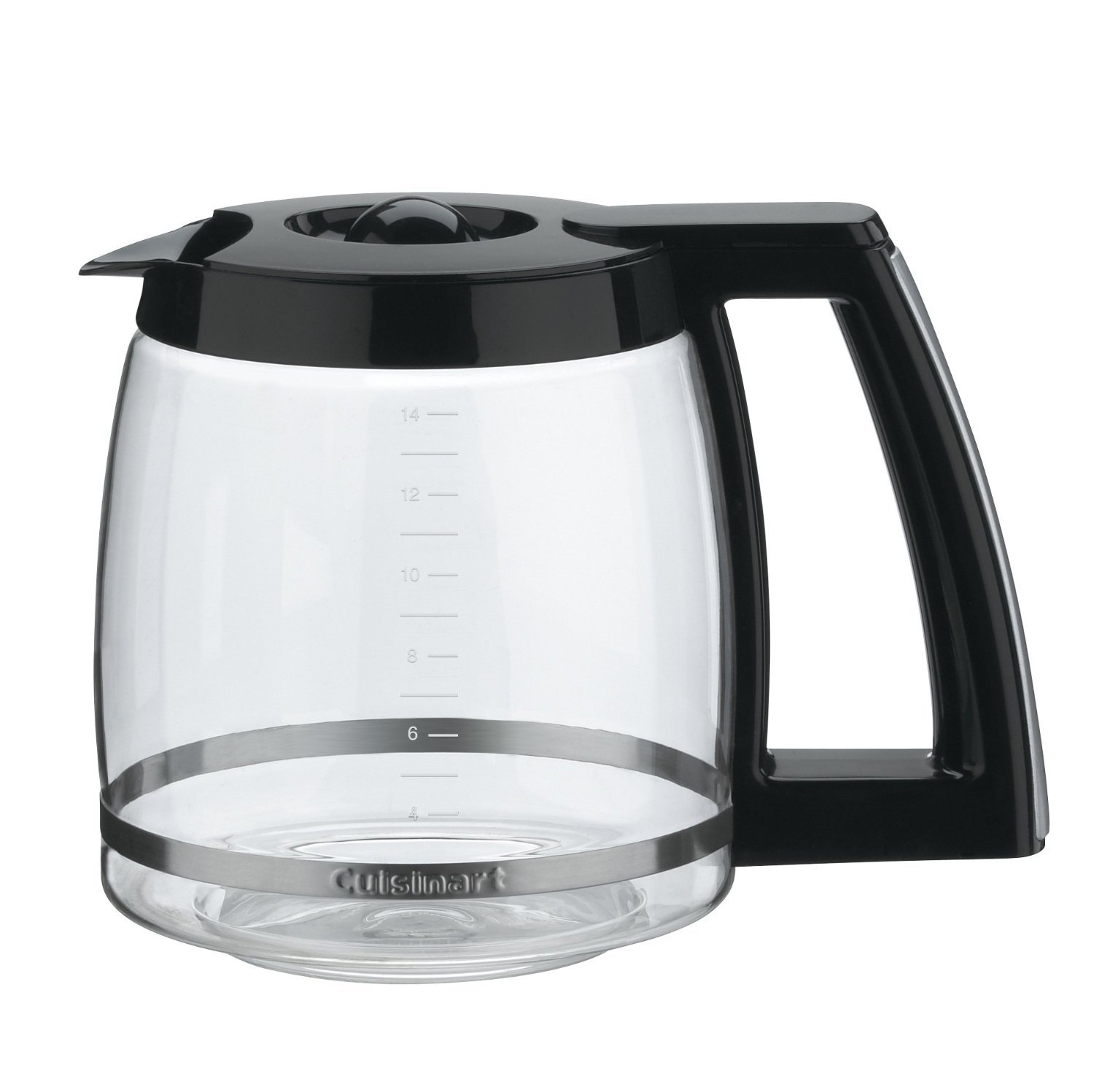 14-Cup Glass Replacement Carafe with Black Trim