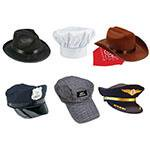 6-Piece Hat Set: Fedora, Police, Chef, Brown Cowboy, Train Engineer & Airline (Kid's Police Hat)