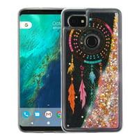 Valor Quicksand Glitter Dreamcatcher Hard Plastic/Soft TPU Rubber Case Cover For Google Pixel 2 XL, Multi-Color