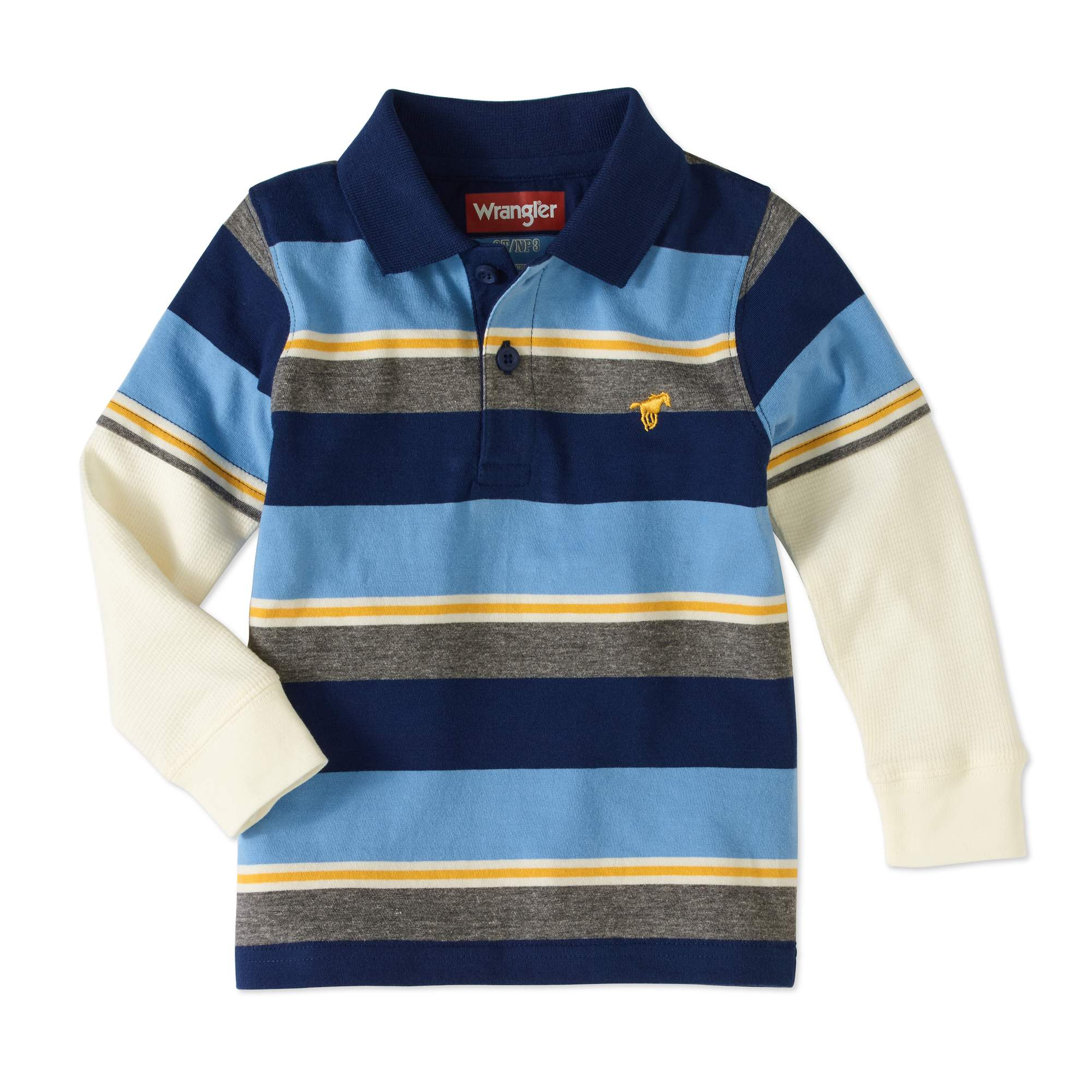 Wrangler Toddler Boy Hangdown Long Sleeve Polo Shirt