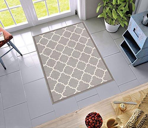 Grey Yellow Ochre Diamond Non Slip Kitchen Rug Mat Floor Small Large Doormat