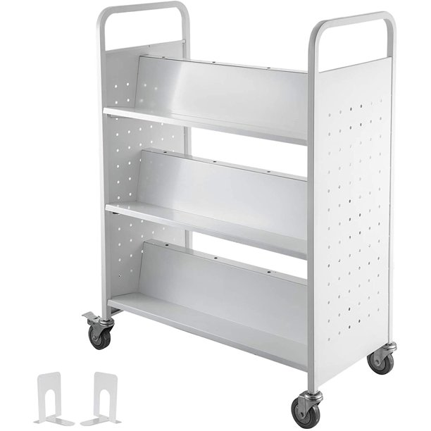 Vevor Book Cart Library Cart 200lb With Double Sided W Shaped Sloped Shelves In White Walmart Com Walmart Com