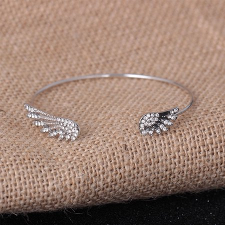 Women Rhinestone Double Wings Open Bangle Adjustable Cubic Zirconia Bracelet - image 3 of 5