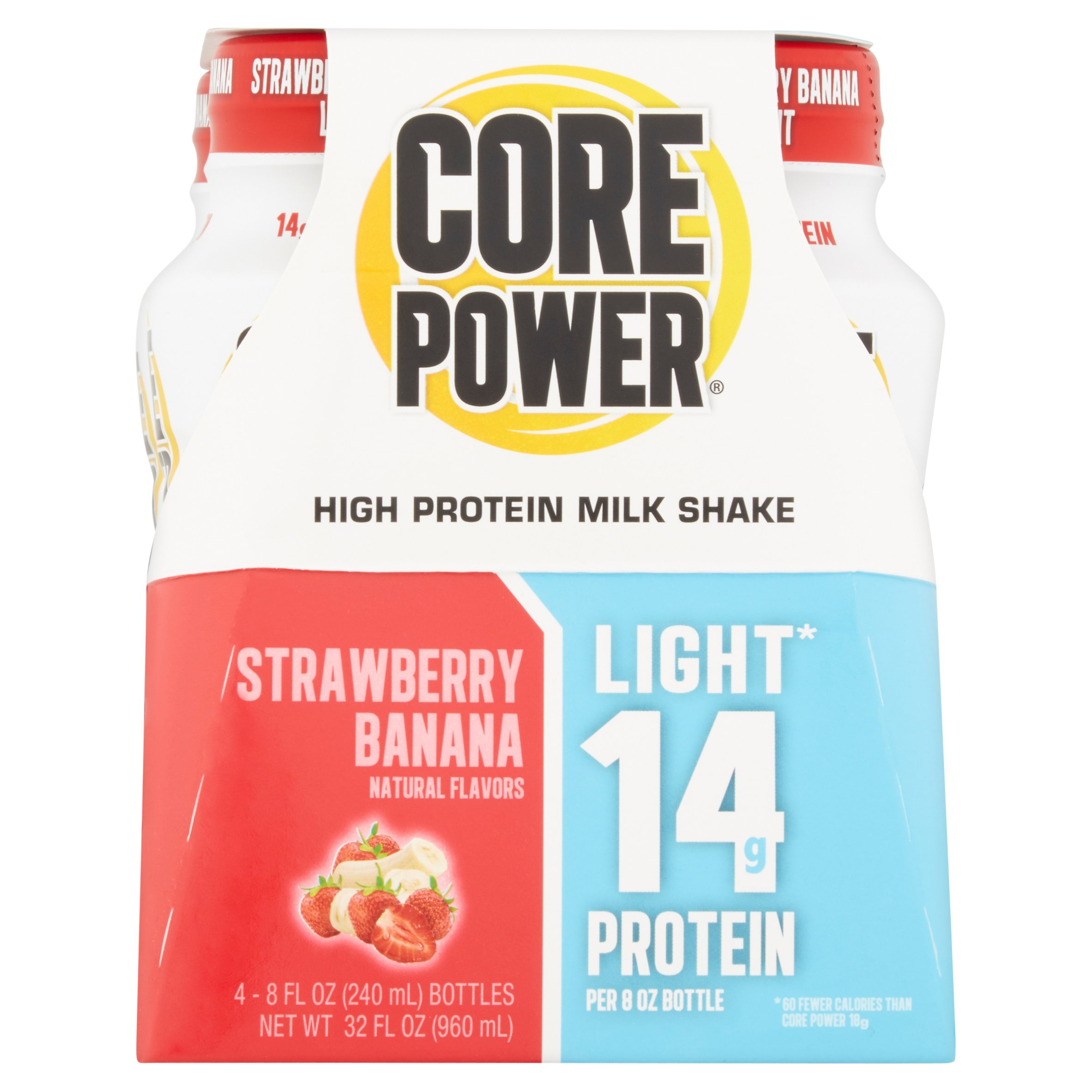 Core Power Protein Shake, Strawberry Banana, 14g Protein, 4 Ct