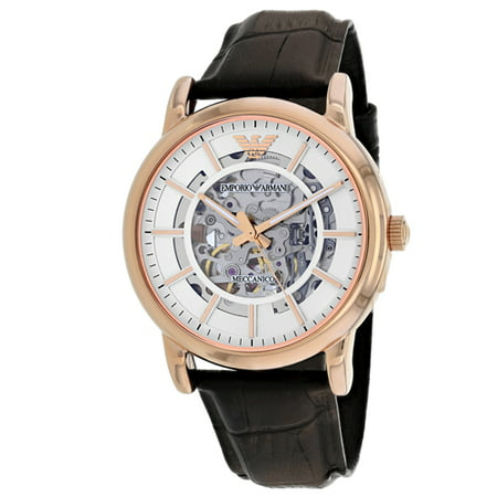 Emporio Armani Men's Classic Brown Leather Skeleton Dial Dress Watch - Armani Exchange Leather