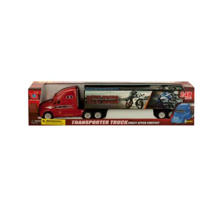 Performance Friction 2 Piece - Kole Imports KL236-2 2 x 15.25 in. Friction Powered Trailer Truck with Motorcycle Decals, 2 Piece