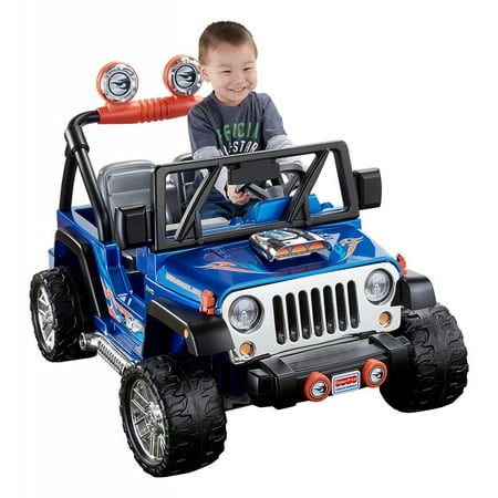 Power Wheels Hot Wheels Jeep Wrangler 12 Volt Battery Powered Ride On  Blue