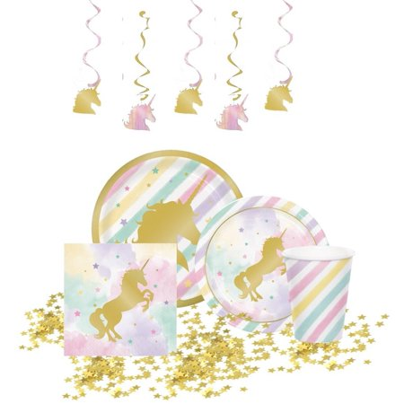 Kedudes Unicorn Party Supplies - 8 Unicorn Dinner Plates, 8 Unicorn Dessert Plates, 8 Napkins with Gold Foil, 8 Cups, 5 Hanging Swirls And 1 Package Of Gold Star Confetti