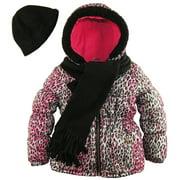 Pink Platinum Little Girls' Leopard Splash Insulated Parka with Accessories