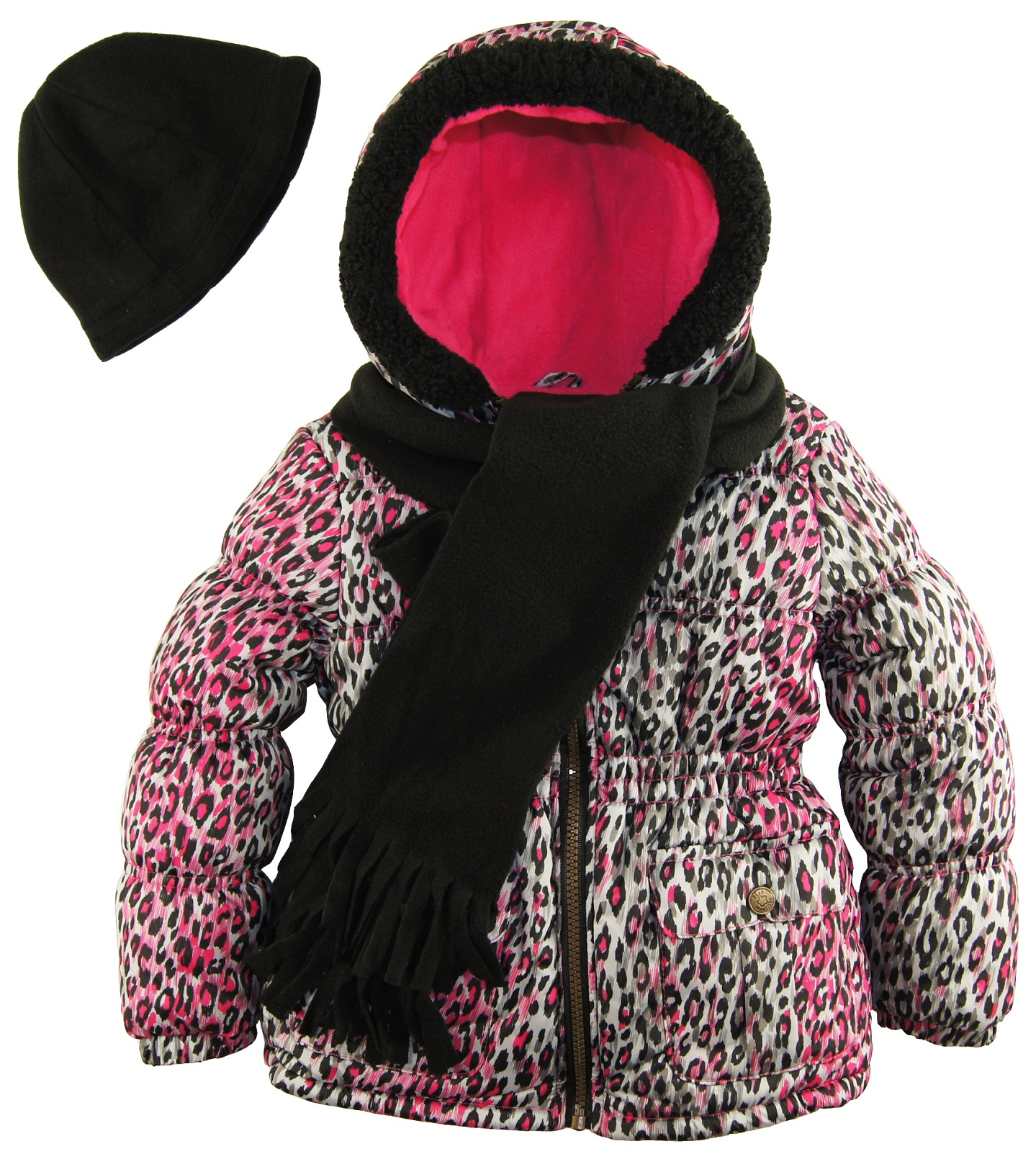 Pink Platinum Little Girls' Leopard Splash Insulated Parka with Accessories