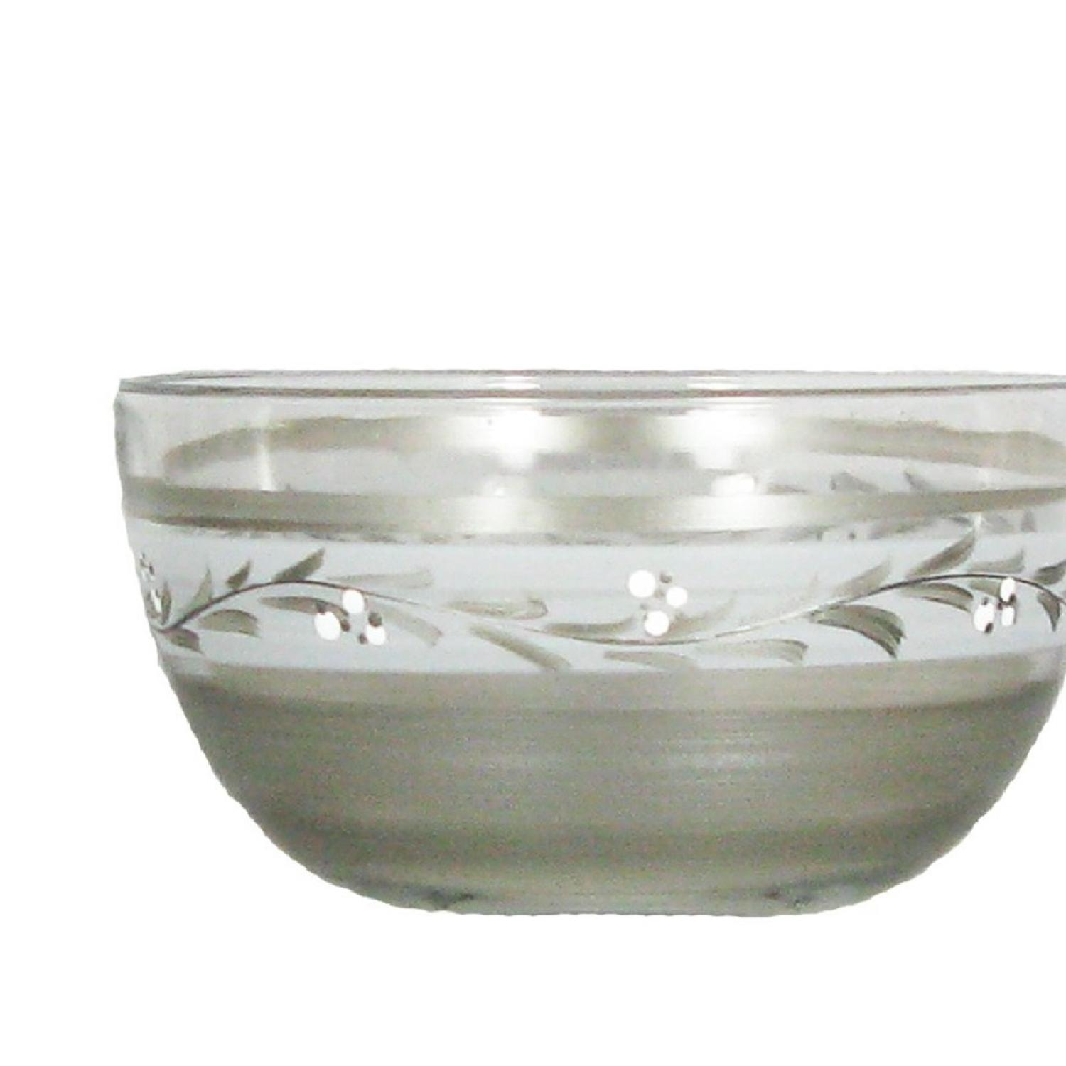 "6"" Pewter Vine Hand Painted Multipurpose Glass Serving Bowl by Crafted Creations"