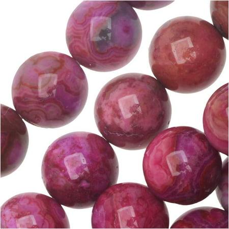 Crazy Agate Beads - Dakota Stones Gemstone Beads, Pink Crazy Lace Agate, Round 8mm, 8 Inch Strand