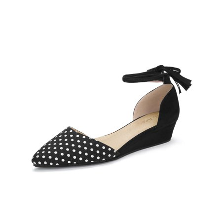 Unique Bargains Women's Lace-Up Dot Prints Pointed Toe Wedge Pumps