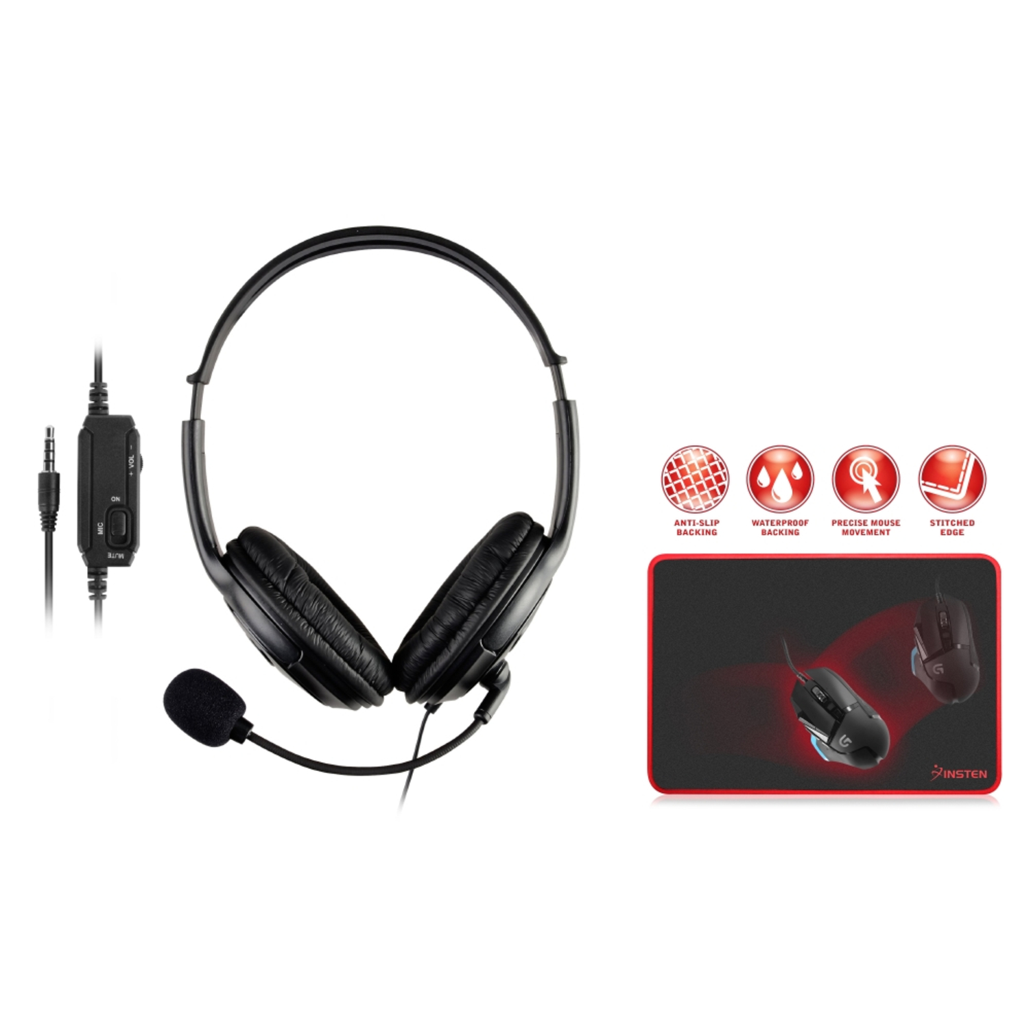 Insten Gaming Headset Headphone with Mic Microphone for Sony PS4 PlayStation 4 + Black\/Red Gaming Mouse Pad Mat (13.8 x 10.2\