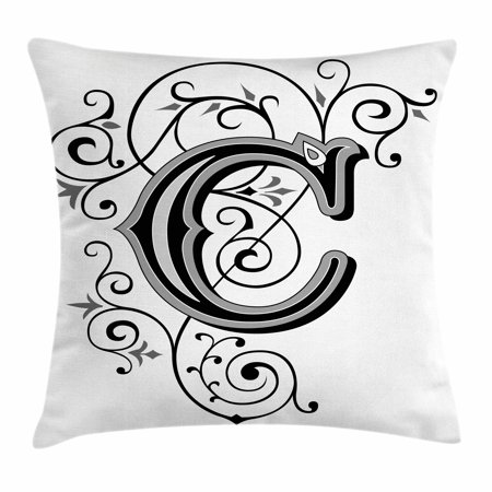 Letter C Throw Pillow Cushion Cover  Victorian Inspired Gothic Style Capital C Vintage Feminine Floral Branches  Decorative Square Accent Pillow Case  24 X 24 Inches  Black Grey White  By Ambesonne