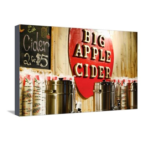 Big Apple Cider for Sale at the Christmas Market in Bryant Park, Stretched Canvas Print Wall Art By Sabine Jacobs ()