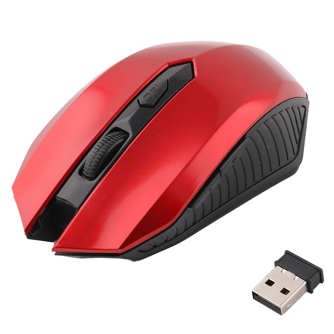 Unique Bargains Wireless 6-Button 2000 DPI Optical Mouse Mice Red w USB Receiver for Laptop