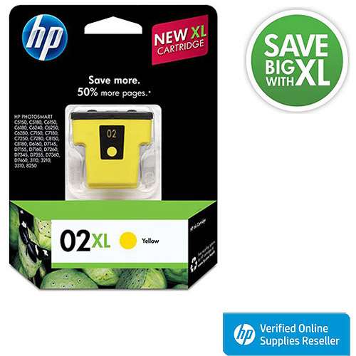 HP 02XL Yellow High Yield Original Ink Cartridge (C8732WN)
