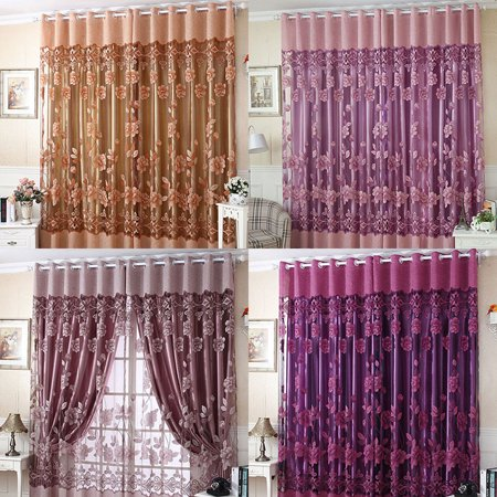 NK HOME 1 PCS ( L: 2.5 M x W: 1M) 98.5'' x 39.4'' Flower Tulle Blackout Curtains Window Balcony Modern Luxury Flower Printed Sheer Tulle Voile Curtain ()