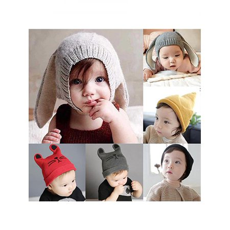 - Baby Toddler Girl Boy Cute Rabbit Ear Cat Knit Earflap Beanie Hat Warm Soft Cap