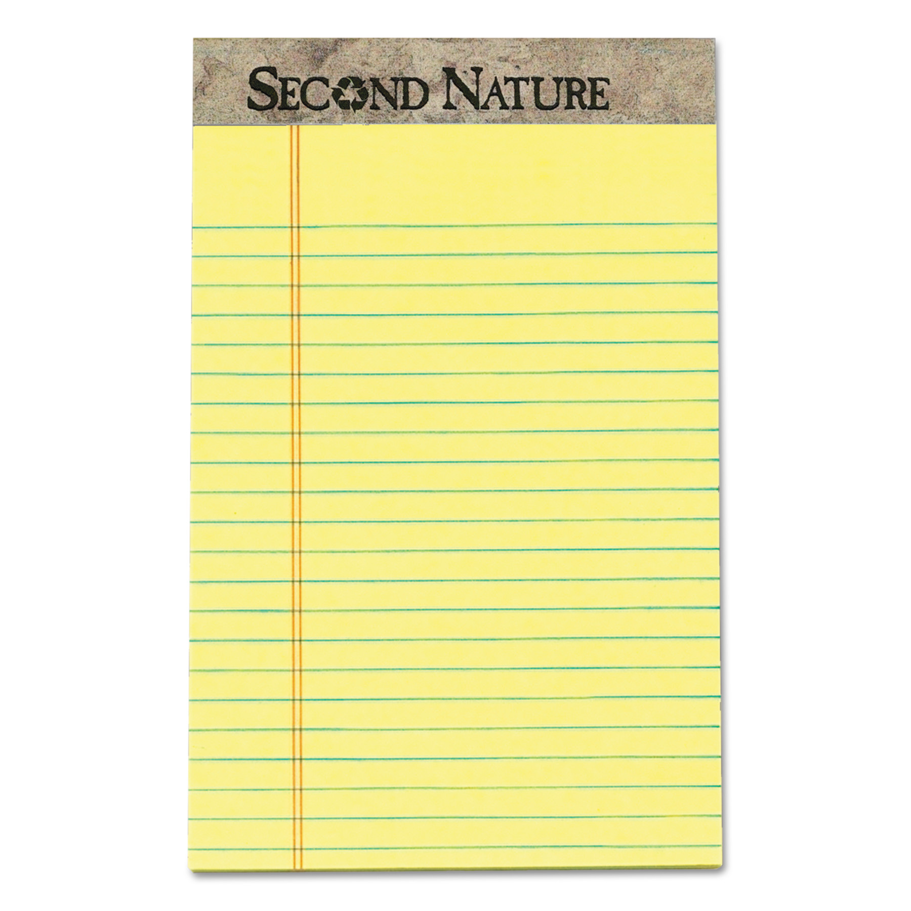 "TOPS Second Nature Recycled Pad, Jr. Legal, 5"" x 8"", Canary, 50 Sheets per Pad, 12-Pack"