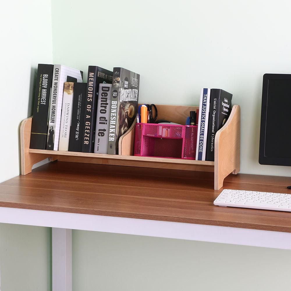 Yaheetech Wood Tabletop Book Holder Shelf Storage Bookcase Desk Stand Tabletop Furniture