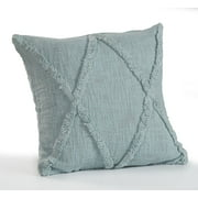 LR Home Criss Cross Fringed Solid Color Gray 18 inch Cotton Indoor Decorative Throw Pillow