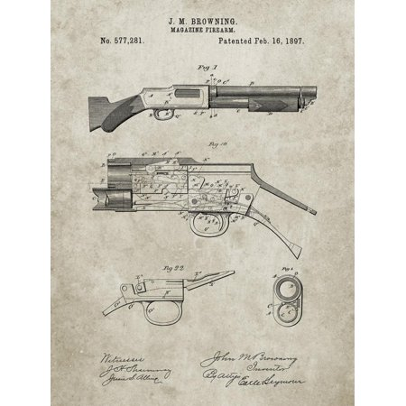 PP1136-Sandstone Winchester Model 1897 Shotgun Print Wall Art By Cole