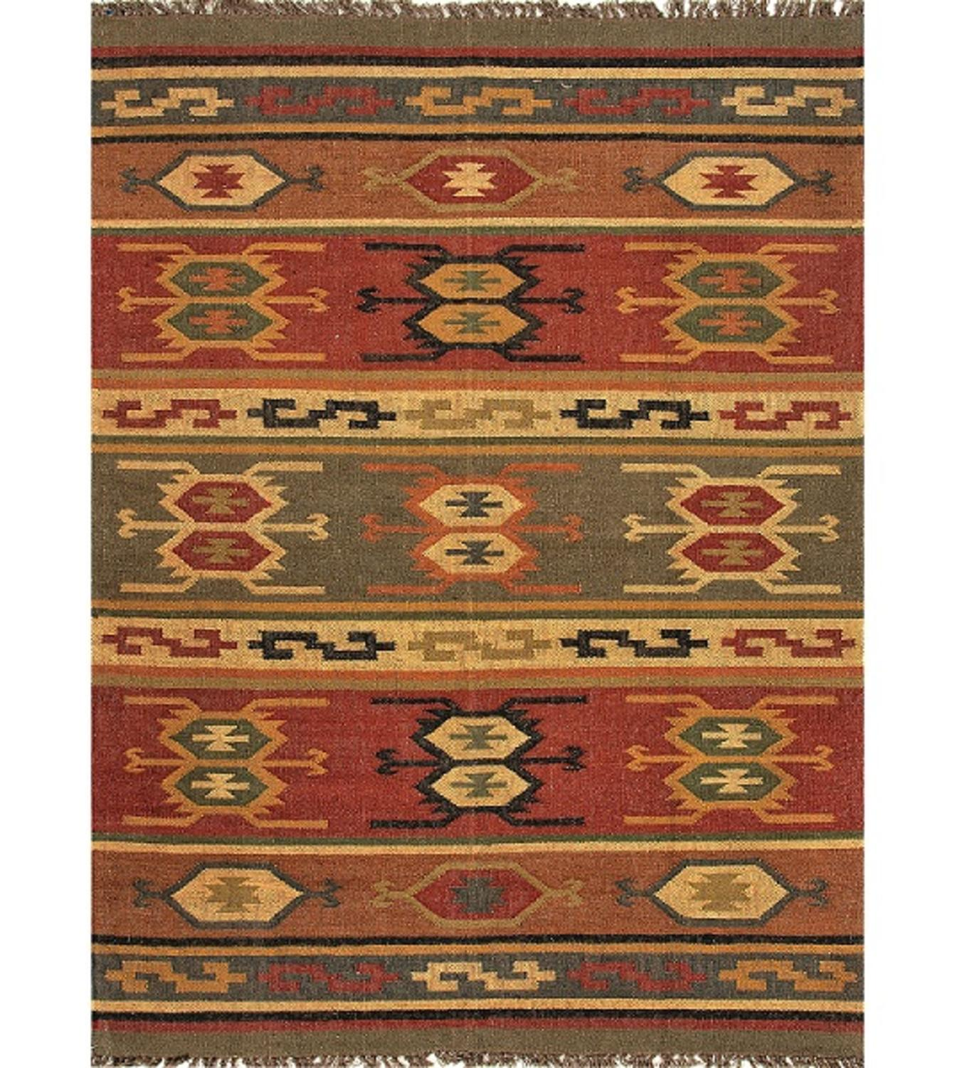 2' x 3' Cardinal Red, Gold & Green Tribal Hand Woven Reversible Wool and Jute Area Throw Rug