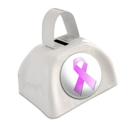 Breast Cancer Pink Ribbon White Cowbell Cow Bell (Pink Cowbell)