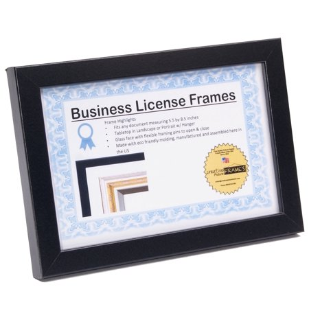 - License Frames for Cosmetology Professionals 3.5 by 8.5 inch State Board License Holder Displays Certificates, Tax License and more - Self Standing or Hanger (Black Frame, Large 5.5x8.5)