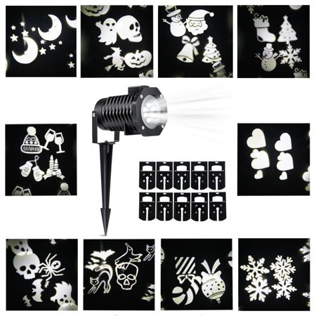 Kohree Christmas Projection Projector Outdoor Light Snowflake Spotlight 10 Pattern Sparkling white Lights Led - Outdoor Projector Christmas Lights