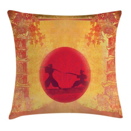 Ambesonne Japanese Throw Pillow Cushion Cover, Warrior Ninjas at Sunset Between Building with FlowersAncient Theme Print, Decorative Square Accent Pillow Case, 16 X 16 Inches, Mustard and Purple (Ancient Ninja)
