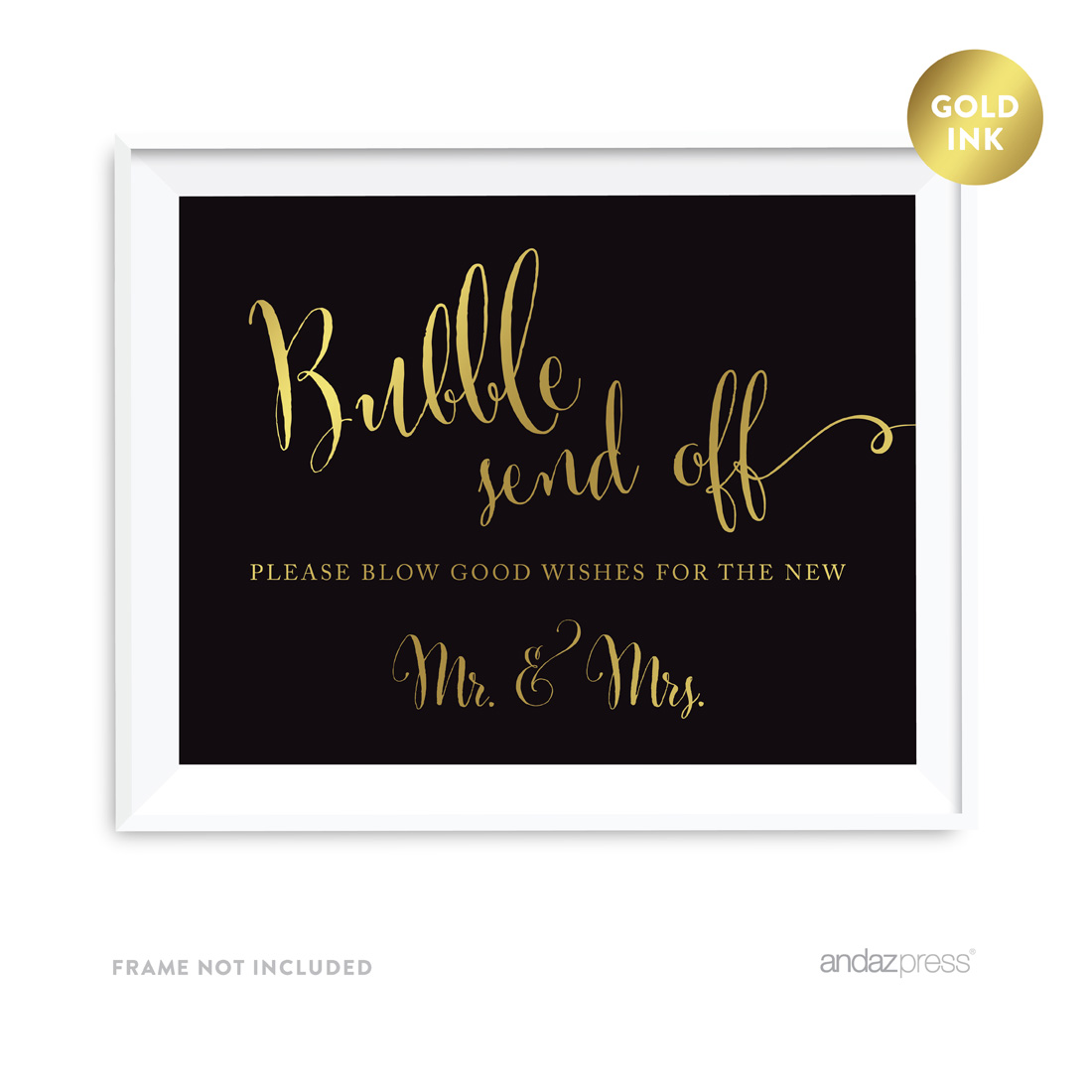 Bubble Send Off Please Blow Good Wishes for the New Mr. & Mrs. Black and Metallic Gold Wedding Signs