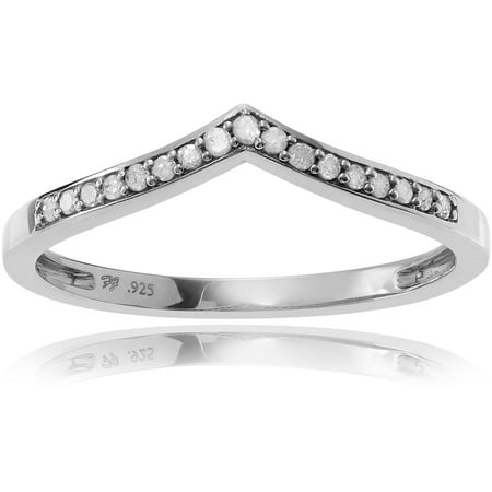 Alexandria Collection Women S 1 6 Carat T W Round Cut Diamond Sterling Silver Thin Curved Wedding