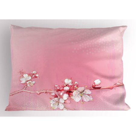Peach Pillow Sham Japanese Inspired Cherry Blossom Branch Sakura Flowers in Soft Colored Spring Time, Decorative Standard King Size Printed Pillowcase, 36 X 20 Inches, Pink White, by Ambesonne