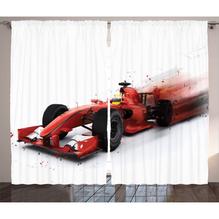 Cars Decor Curtains 2 Panels Set, Generic Formula 1 Racing Car Illustration with Special Pace Effect Turbo Motion Auto Print, Living Room Bedroom Decor, Red Black, by Ambesonne](Race Car Room Decor)