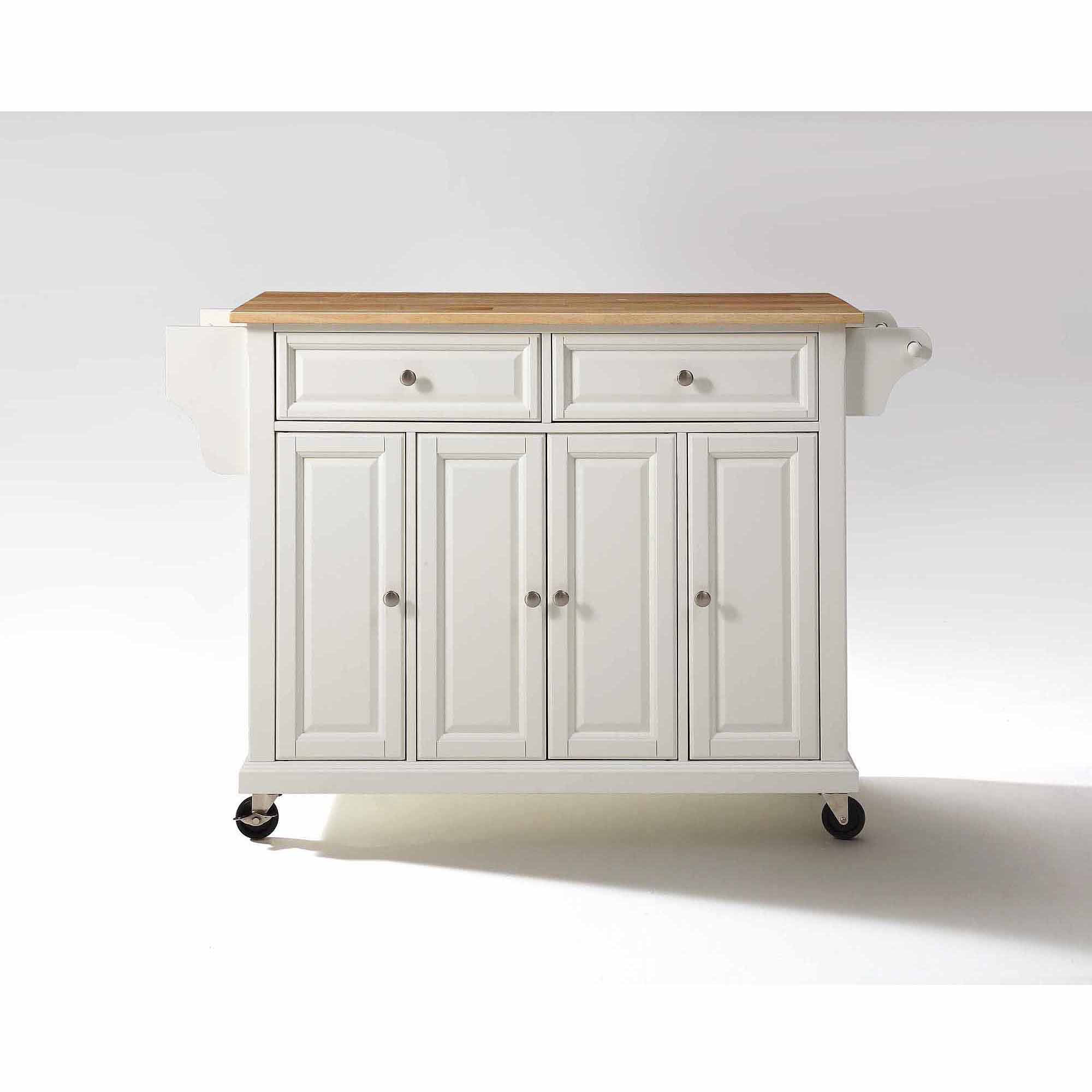 crosley furniture natural wood top kitchen cart - walmart