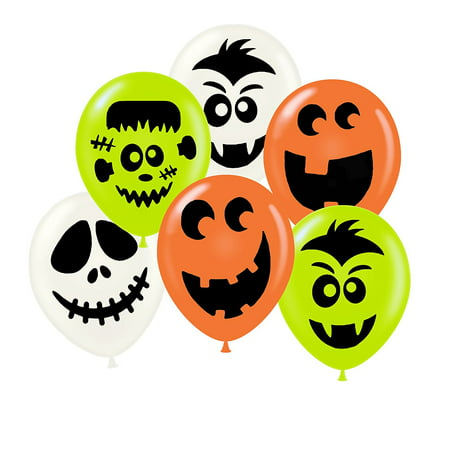 Halloween Friendly Face Balloon Assortment Pkg/50 - Halloween Balloon Faces