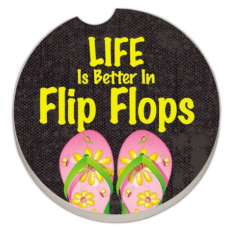 CounterArt Absorbent Stone Life Is Better in Flip Flops Car Coaster (Set of 2)