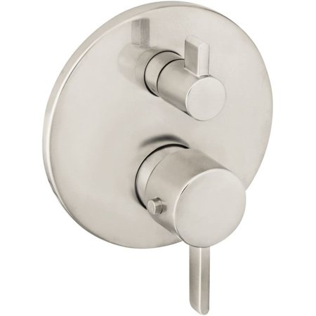Hansgrohe  Ecostat S Thermostatic Trim with Volume Control, Brushed Nickel - Hansgrohe Plate