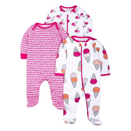 100% Organic Cotton Sleep N Play Pajamas, 3pk (Baby Girls) (Orange Girls Pajamas)