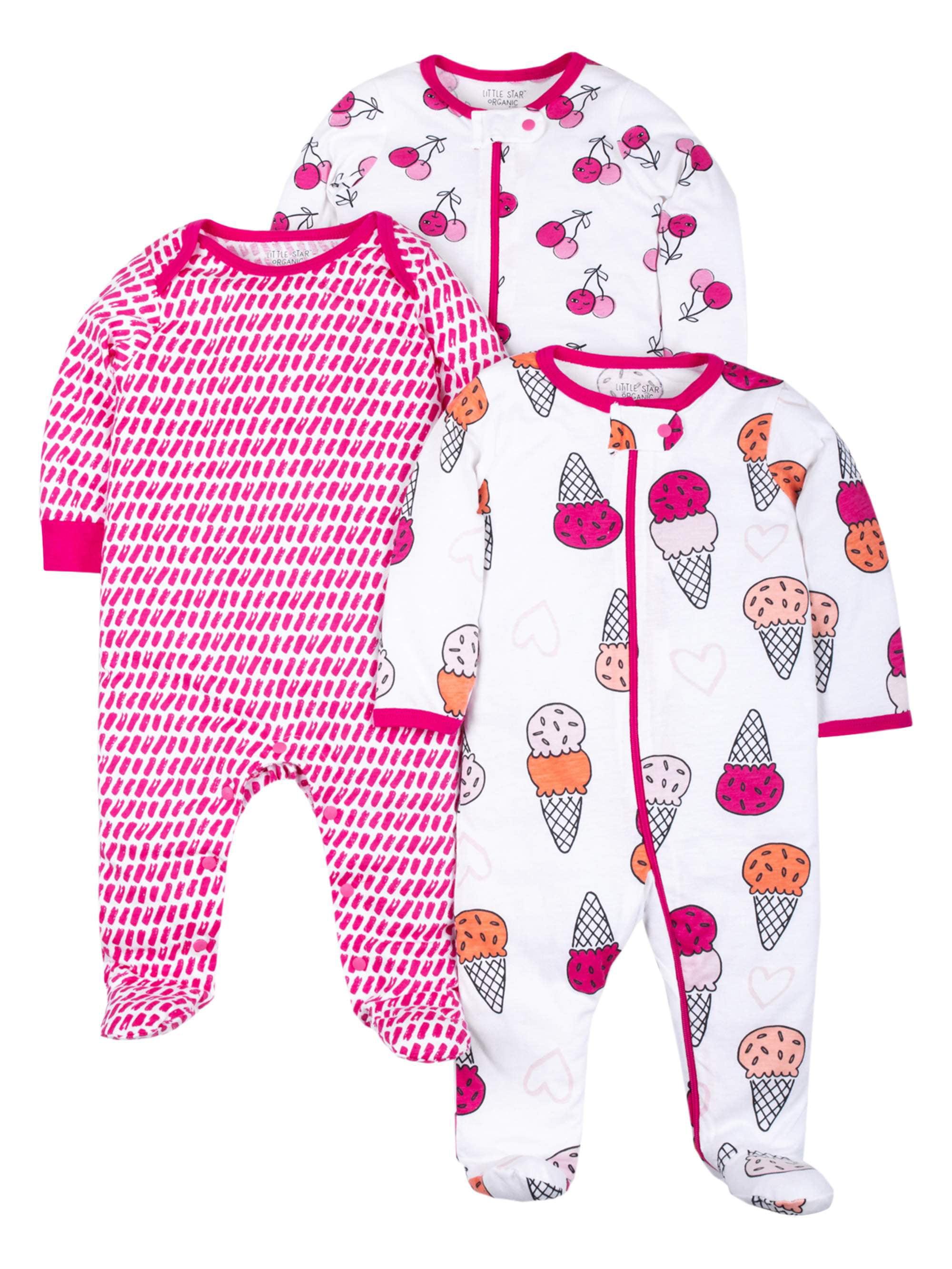 100% Organic Cotton Sleep 'N Play Pajamas, 3-pack (Baby Girls)