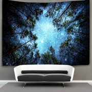 Forest Starry Tapestry Beautiful Night Sky Wall Hangings theMilky Way and the Trees Bedspread Throw Blanket Home Room Wall Decor Art 60''x40''