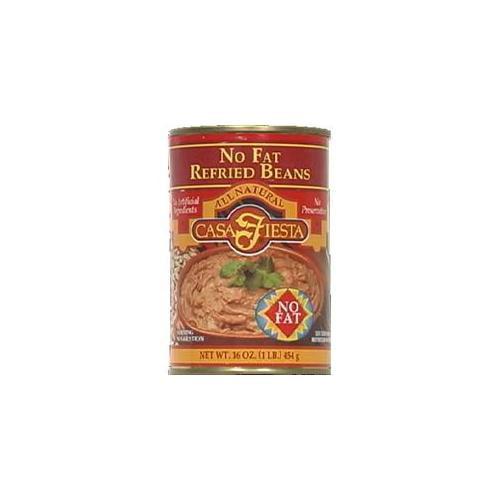 Casa Fiesta No Fat Refried Beans, 16 oz, - Pack of 12